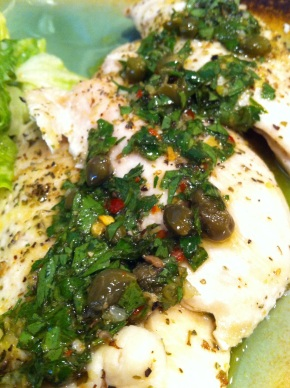 Italian Salsa Verde on chicken breast